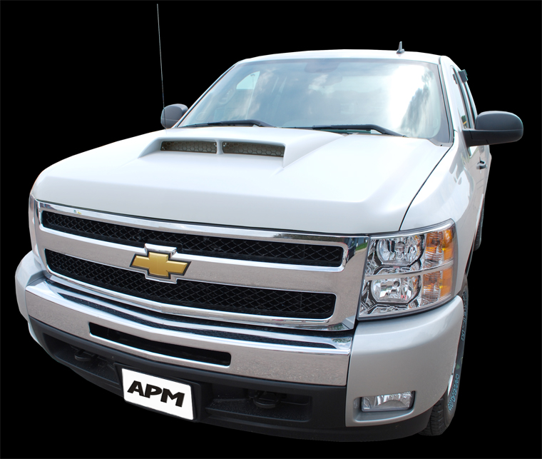 apm chevrolet silverado 1500 aggressive ram air hood 2007 2013 811452. Black Bedroom Furniture Sets. Home Design Ideas