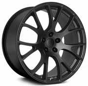 "Challenger/ Charger 22"" REPLICAS V1180 HELLCAT SATIN BLACK 22x9.5 WHEEL SET RIMS 5 LUG"