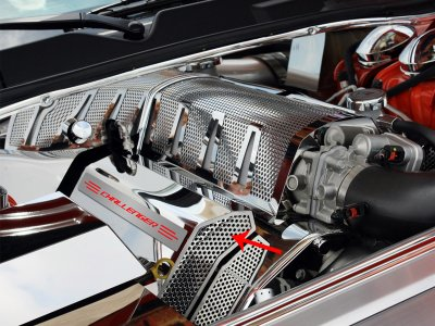 """Challenger/Charger/Magnum/300 SRT 8 Fuel Rail Covers Polished/Perforated """"CHALLENGER"""" Illuminated 2008-2011"""