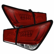 Chevy Cruze 2011-2014 Light Bar LED Tail Lights - Red Clear