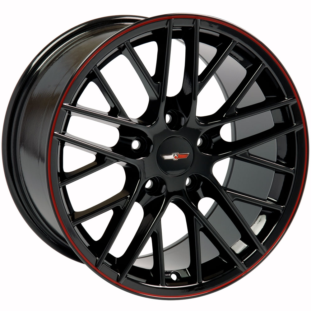 Corvette C6 Zr1 Wheels Black Red Line 18x8 5 Set