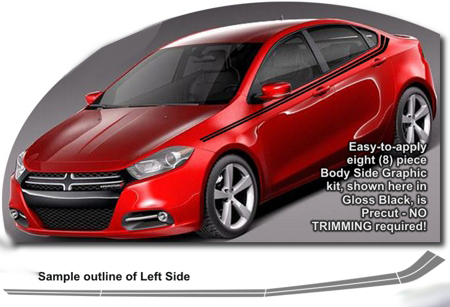 Dodge Dart Body Side Graphics Kit 2 2013 2014