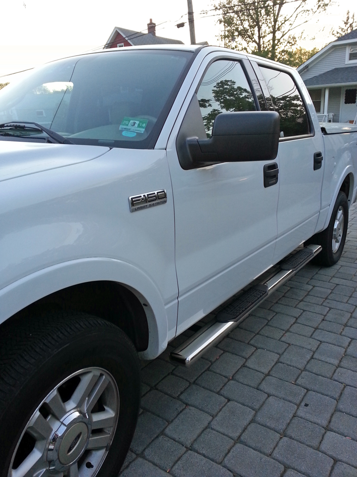 "ford f150 5"" oval nerf bars bullet crew cab length stainless steel"