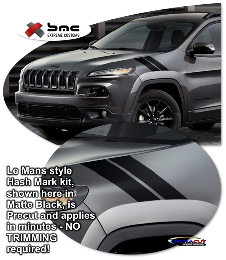 jeep cherokee precut le mans style hash mark graphics kit 2014. Black Bedroom Furniture Sets. Home Design Ideas