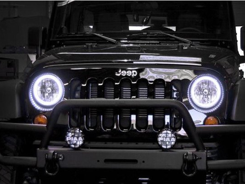 Halo Lights For Jeep Wrangler >> Jeep Wrangler Oracle Pre Assembled Headlights With Halo Kit