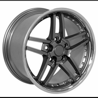 C6 Z06 Style Deep Dish Corvette Wheels (Set): Gunmetal w/Stainless Steel Lip and Rivets 18x8.5/19x10 2005-2013 C6