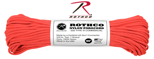 550 Paracord / Parachute Cord - 100ft - RED