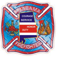 Alabama Firefighters Helmet Sticker