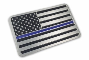 Aluminum Thin Blue Line Vehicle Emblem