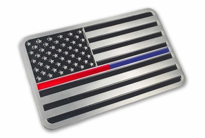 Aluminum Thin Red Thin Blue Line Vehicle Emblem