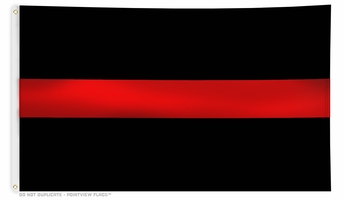 Black Thin Red Line Flag 3 x 5