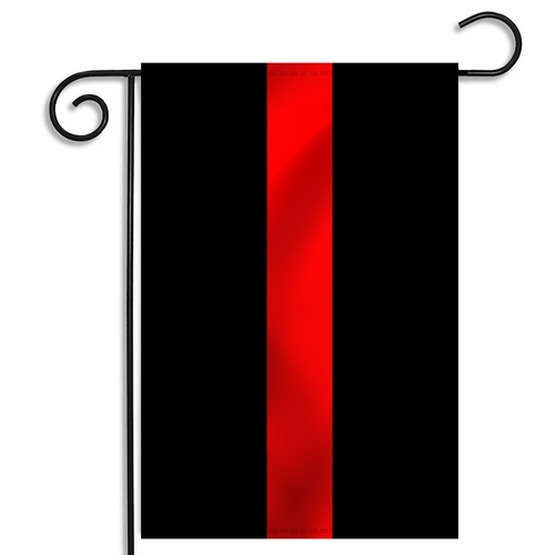 Black Thin Red Line Garden Flag 12 x 18