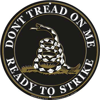 Don't Tread On Me Ready To Strike Sign - Black