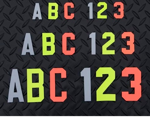 ORANGE 2 Inch Firefighter Reflective Helmet Stickers Letters Numbers