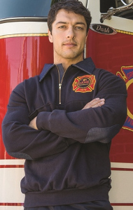 Game Firefighters Standard Work Shirt With Denim Collar and Elbows