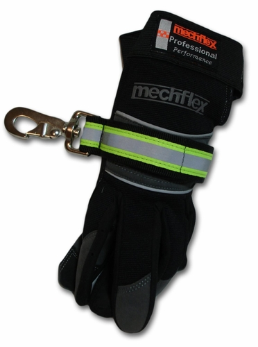 Heavy Duty Reflective Black Firefighter Velcro Glove Strap - THE BEST!