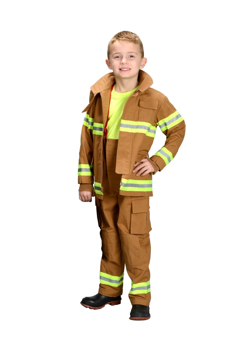 kids firefighter costume color tan or black real life like fabric