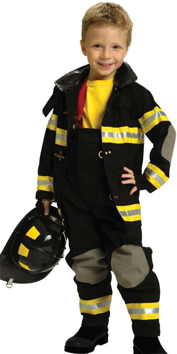 kids firefighter halloween custume with real fabric black - Fireman Halloween
