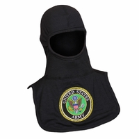 Majestic Fire 100% Nomex Black PAC II Hood W/Embroidered ARMY Emblem