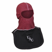"Majestic Fire Embroidered ""USC"" Nomex Blend Garnet Hood Black Apron PAC II Hood"