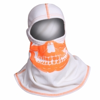 Majestic Fire - Fire Ink Orange Skull W/High Vis Orange Trim White PAC F20 Hood - NOMEX