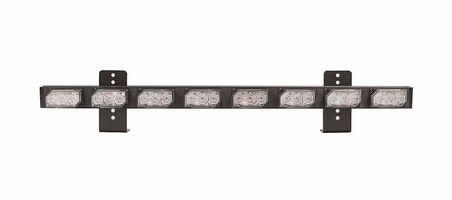 **OPEN BOX** EL3D08B10R UltraLITE Exterior LED Directional/Warning Bar - 8 Module w/ Amber Center Modules &  Single Warning Ends W/ Universal L-Brackets w/ 14 ft Wire - Red Warning Ends