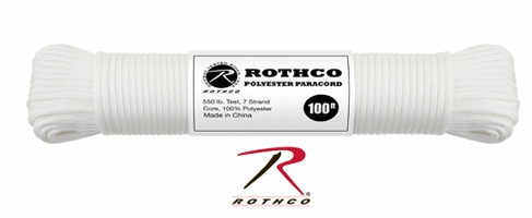 Polyester Paracord / Parachute Cord - 100ft - WHITE