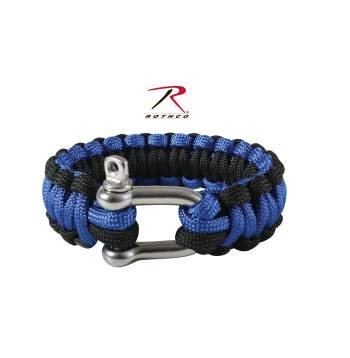 Rothco Thin Blue Line Paracord Bracelet with D-Shackle