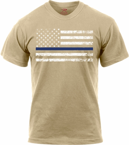 Rothco Thin Blue Line T-Shirt Desert Sand w/ White Stripe
