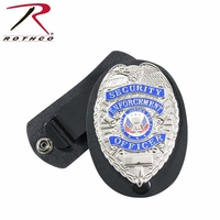 RTH-1133 Rothco Leather Clip-on Badge Holder / Swivel Snap