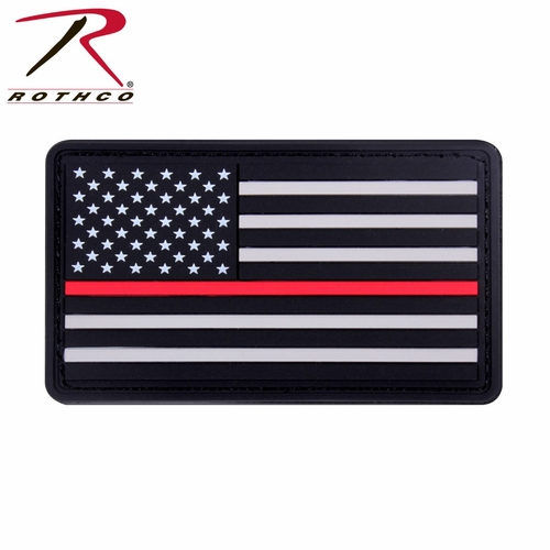 RTH-2776 Rothco Rubber Thin Red Line Flag Patch