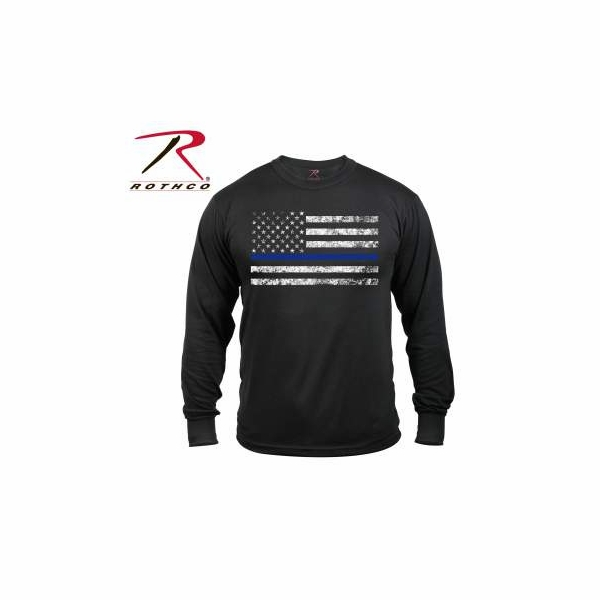 Rth 3925 rothco long sleeve thin blue line t shirt for Thin long sleeve t shirts
