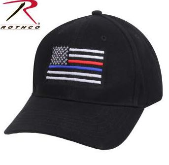 RTH-8754 Rothco Thin Blue Line & Red Line Low Profile Flag Cap
