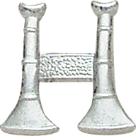 Smith And Warren Collar Brass Insignia -  2 BUGLES PAIR