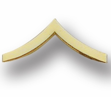 Smith And Warren Collar Brass Insignia -  PVT CHEVRON MEDIUM PAIR