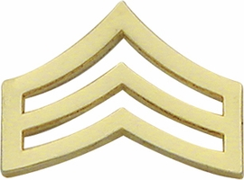 Smith And Warren Collar Brass Insignia -  SGT CHEVRON MEDIUM PAIR