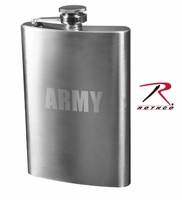 Stainless Steel Army Engraved Flask - 8 oz.