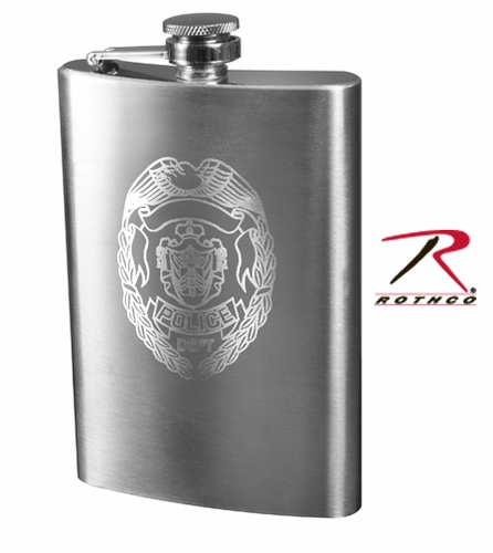 Stainless Steel Police Badge Engraved Flask - 8 oz.