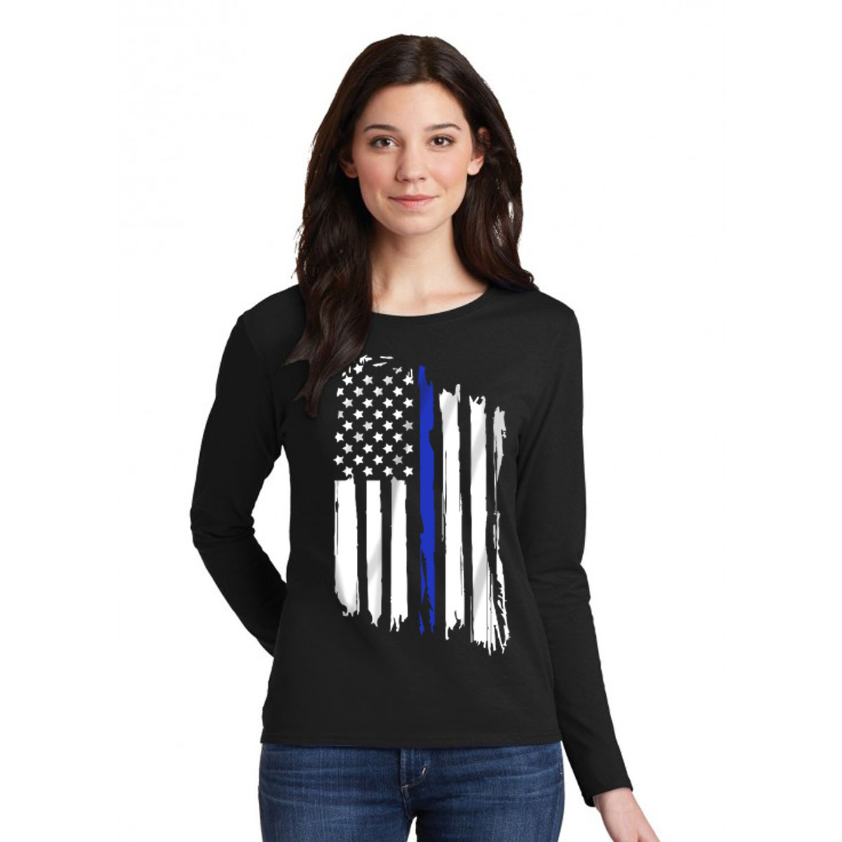 Thin blue line flag womens long sleeve tshirt for Thin long sleeve t shirts