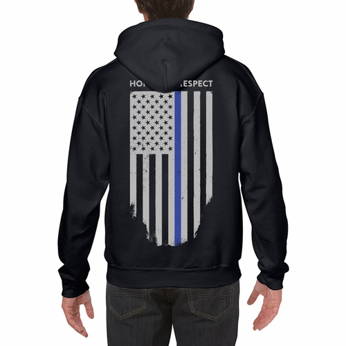 Thin Blue Line Hoddie American Flag Honor Respect