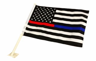 Thin Blue Line Thin Red Line American Car Flag 12 x 18