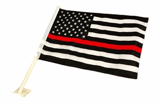 Thin Red Line American Car Flag 12 x 18