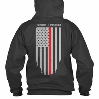 Thin Red Line Hoodie American Flag Honor Respect