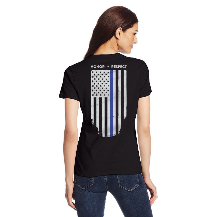 Womens Slim Fit Thin Blue Line Flag T-Shirt a7a66259477