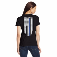 Womens Slim Fit Thin Blue Line Flag T-Shirt