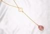 14k Gold Filled Y Necklace w/Clover and Rose Quartz