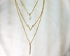 3 NECKLACE SET:  Gold Leaf, Matte V, Short Vertical Bar
