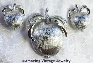 ADAM'S DELIGHT Pin & Earrings - Silvertone