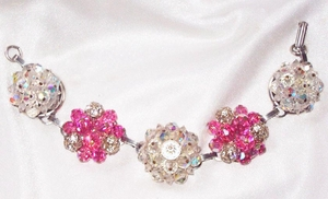 ALL GLASS Pink and AB Cluster Bracelet