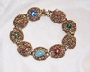 Antique Goldtone Bracelet with Multi Stones